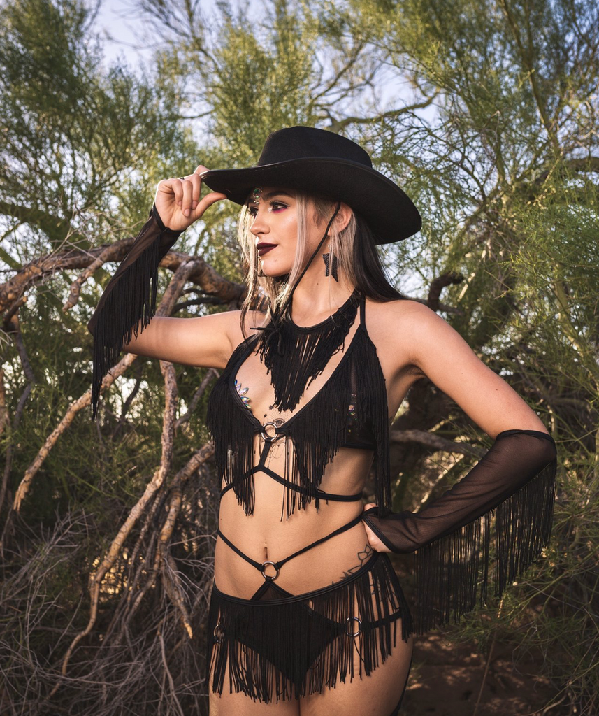 Rodeo Ringleader Strappy Mesh Matching Rave Set