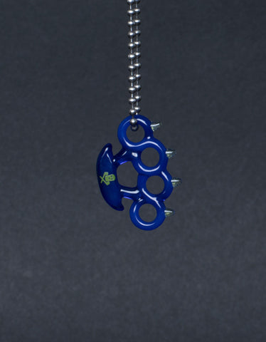 SKI MASK BRASS KNUCKLES PENDANT BLUE