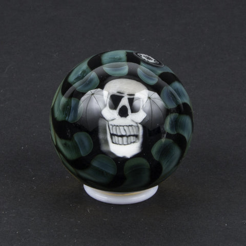 KOREY GLASS FUMED GLASS MARBLE W/ SKULL MURRINE