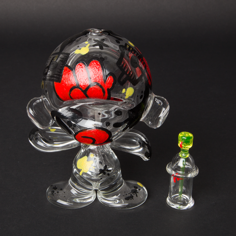LUDA / CFIONE HAND PAINTED GLASS MUNNY (Glass spray can by Micah from Fathead glass)