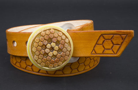 Ancient Microchip / Jameson filled honeycomb buckle and belt set