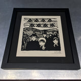 INVADER HYPNOSIS wood block print
