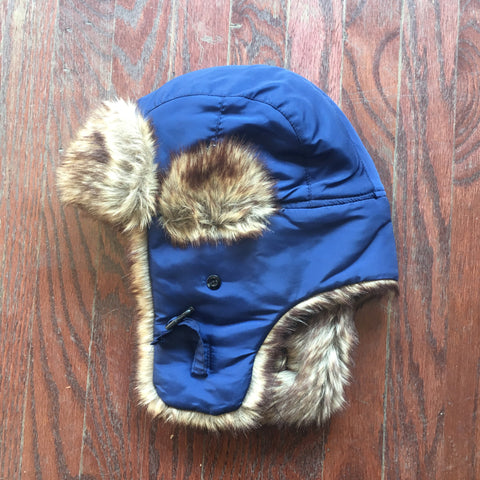 Blue polyester faux fur winter hat