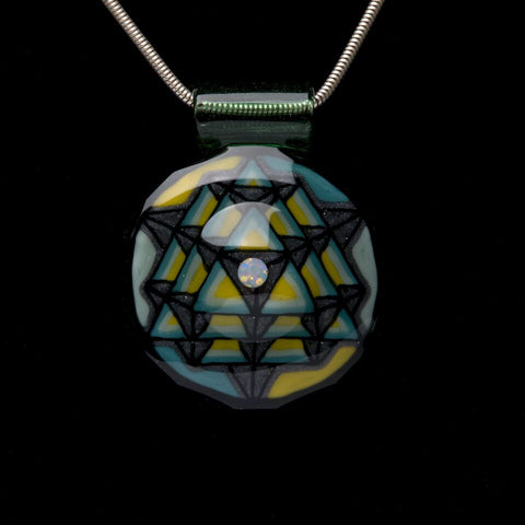 HELRAISER YELLOW/BLUE 64 STAR TETRAHEDRON PENDANT WITH OPAL