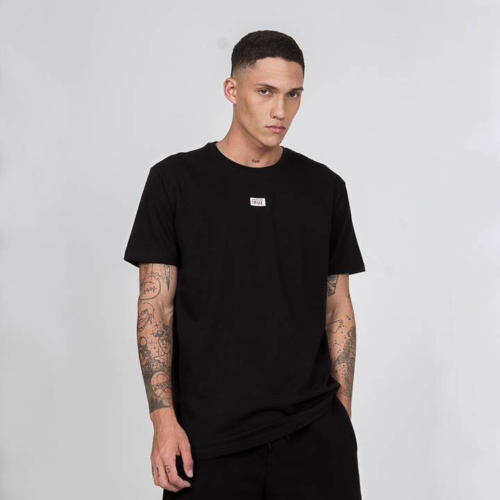 True Basic T-Shirt Box Logo - Black (6068195131545)