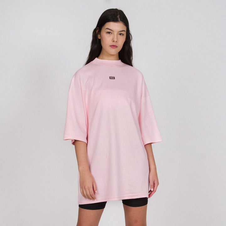 True Mock Neck Oversized T-Shirt - Pink (6144296321177)