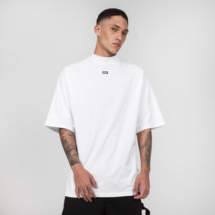 True Mock Neck Oversized T-Shirt - White (6144293961881)