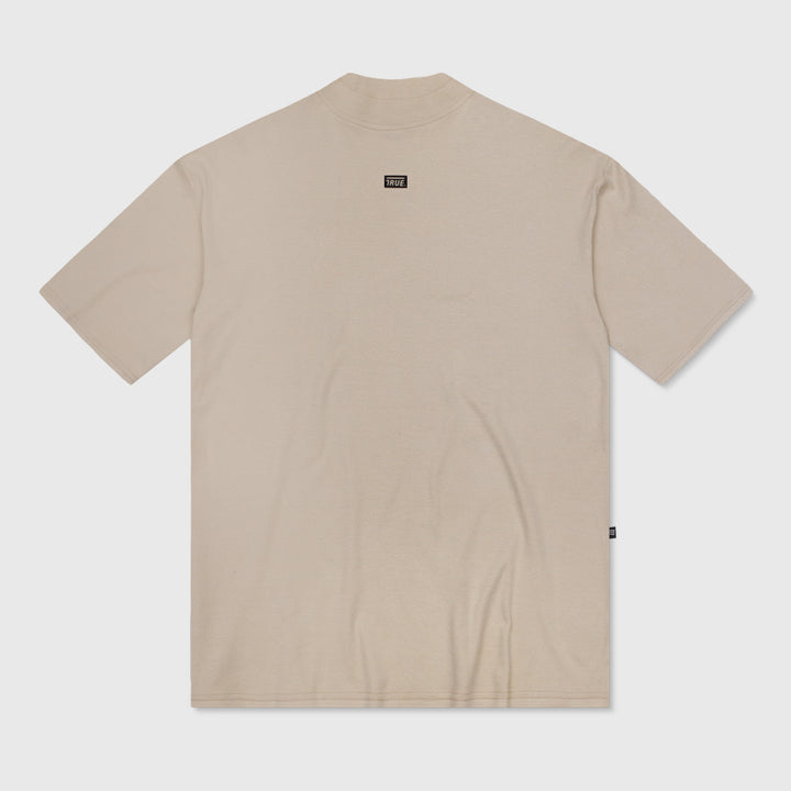 True Mock Neck Oversized T-Shirt - Camel