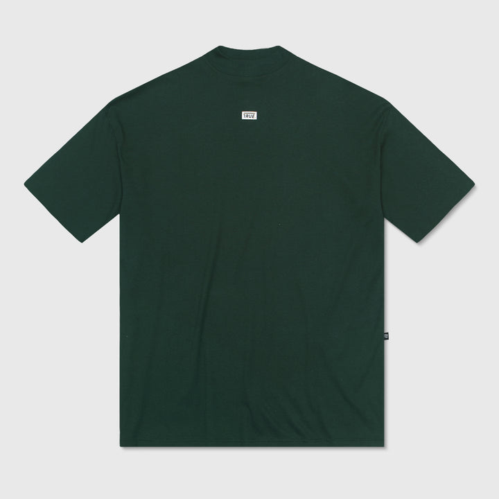 True Mock Neck Oversized T-Shirt - Pine Green