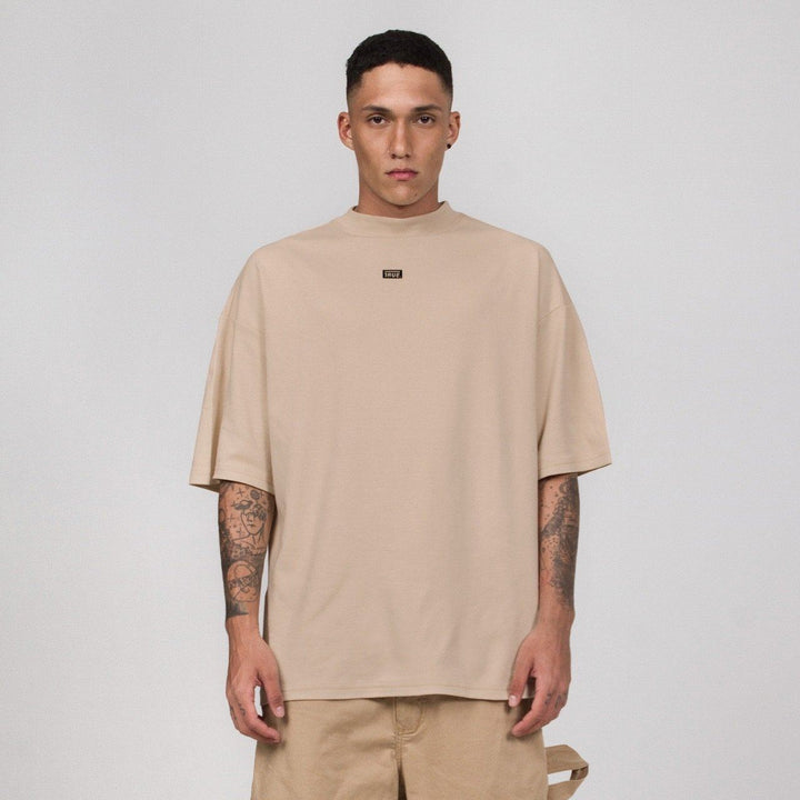 True Mock Neck Oversized T-Shirt - Camel (6144295927961)