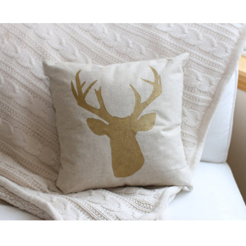 Gold Deer Head Pillow