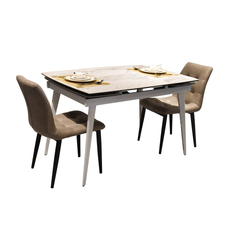 Lorie Marble Top Extendable Dining Table Dining Furniture Maxihome Maxi Home Furnishing Pte Ltd