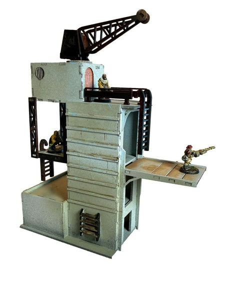 Cargo Tower with Crane - Facility Set 'A' - 28mm MDF Scenery Warhammer/Tabletop