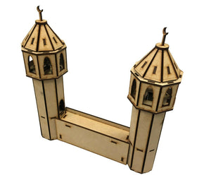 28mm 'Set A' Wall with Minarets Section - MDF Scenery for WW2/Warhammer/Desert