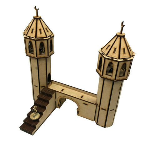 28mm 'Set B' Gate with Minarets Section - MDF Scenery for WW2/Warhammer/Desert