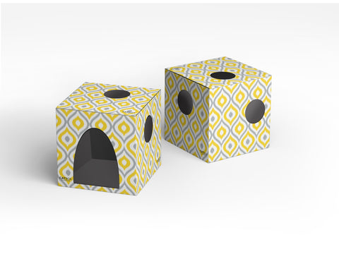 Meow Yellow Cardboard Cat House with Scratcher