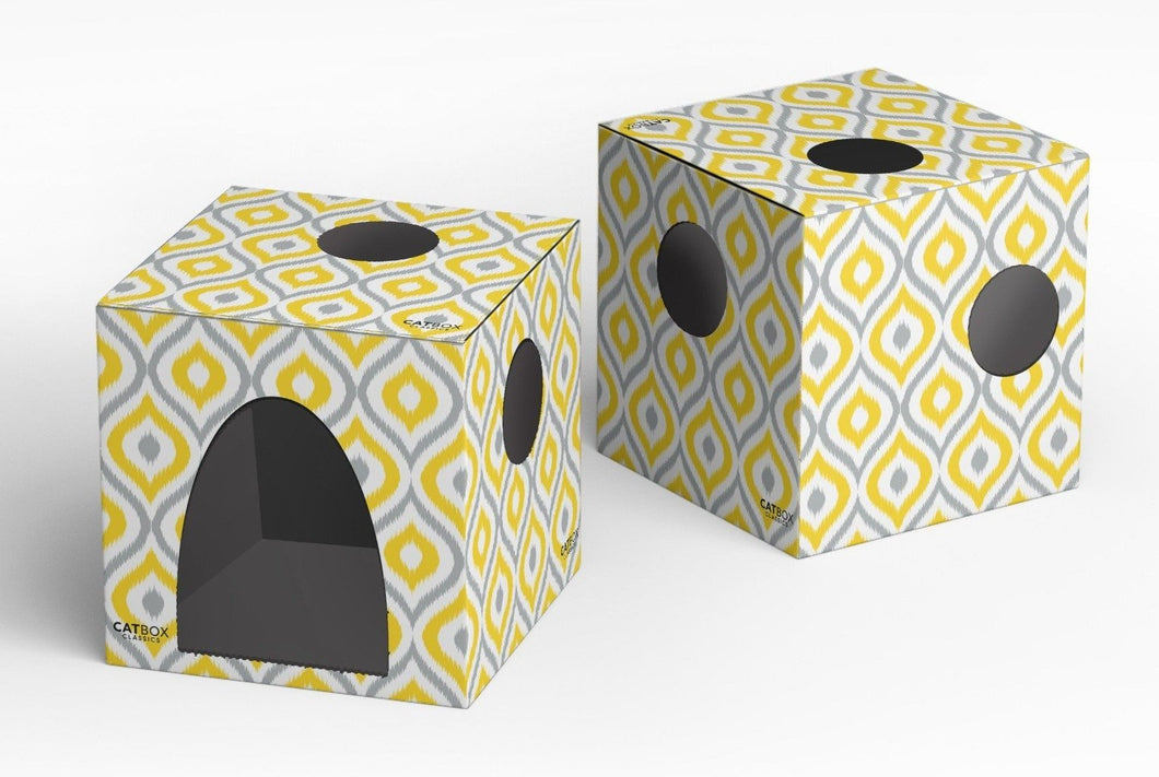 Meow Yellow Cat House with Scratcher - Cat Box Classics