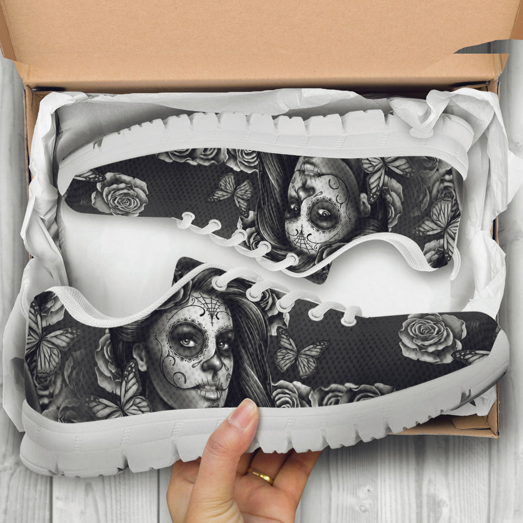 Black and White Sugar Skull Girl Kids Sneakers - STUDIO 11 COUTURE