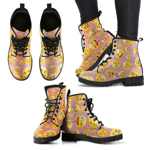 Emoji Happy Womens Leather Boots