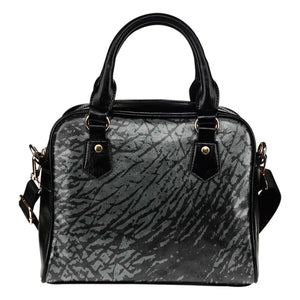 Animal Prints Rhino Elephant Theme Women Fashion Shoulder Handbag Black Vegan Faux Leather