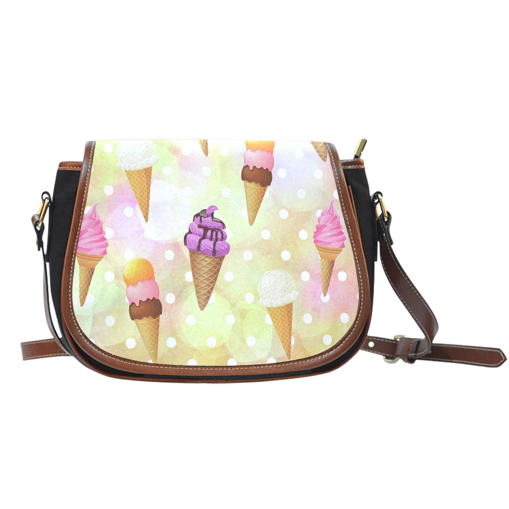 Ice Cream 5 Crossbody Shoulder Canvas Leather Saddle Bag