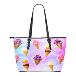 Ice Cream Themed Design C1 Women Small Leather Tote Bag