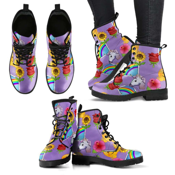 Emoji Happy Place Womens Leather Boots