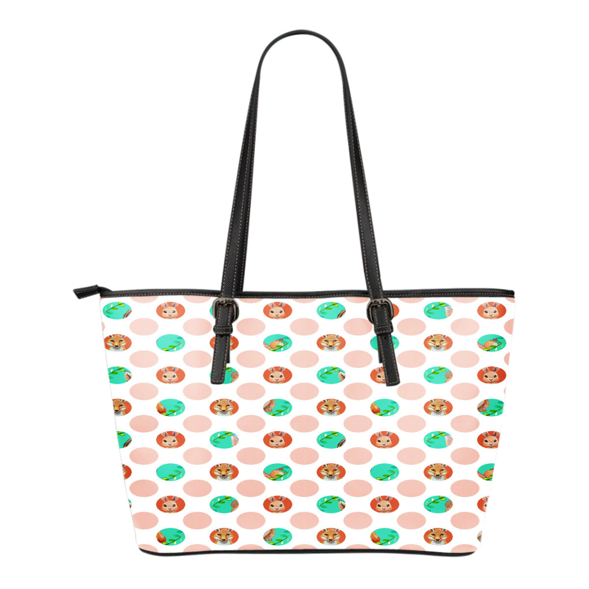 Woodland Themed Design C12 Women Small Leather Tote Bag