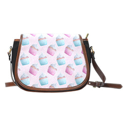 Baking Themed Sweet Cupcakes Crossbody Shoulder Canvas Leather Saddle Bag