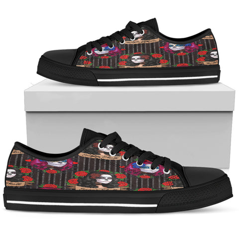Sugar Skull Gothic Lolita Women Low Top Shoes