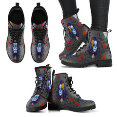 Sugar Skull Diamond Red Women Leather Boots