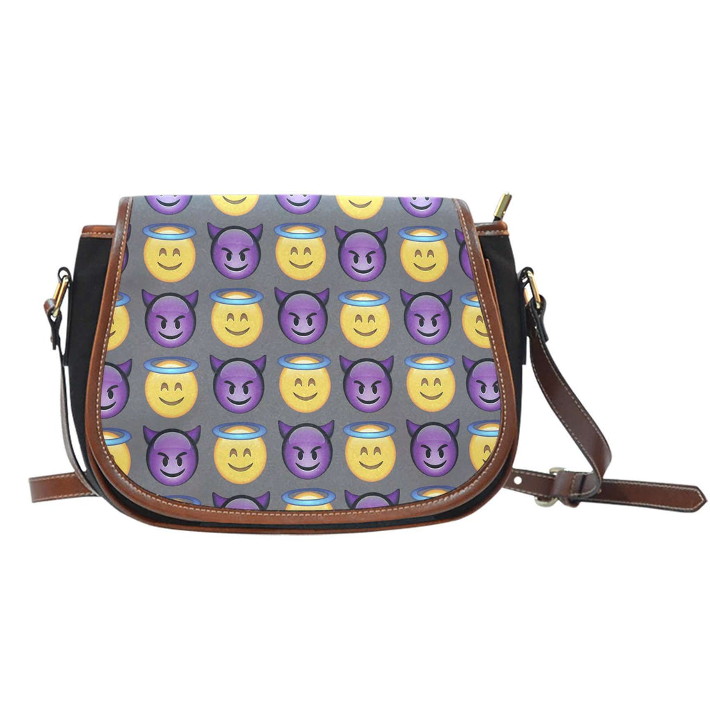 Emojis Good vs Bad Crossbody Shoulder Canvas Leather Saddle Bag