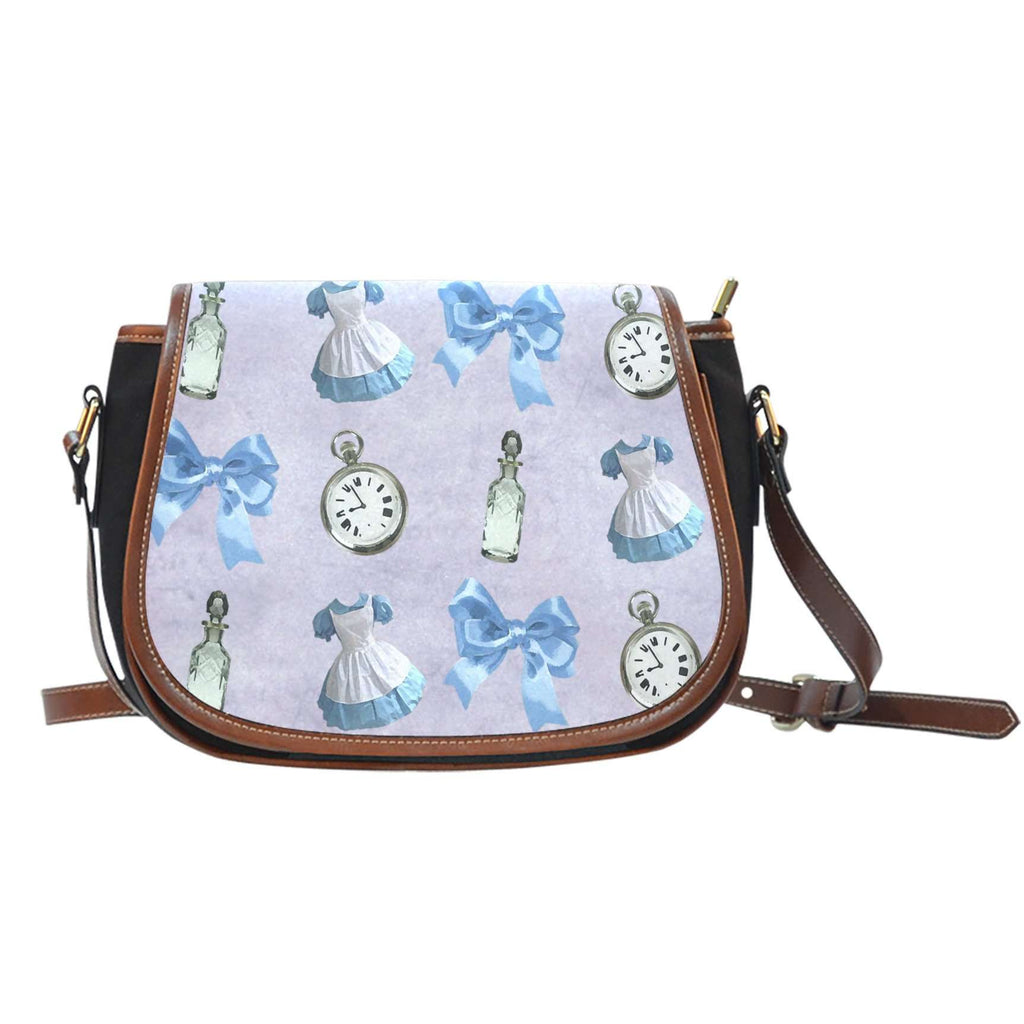 Alice Shrink Bottle Crossbody Shoulder Canvas Leather Saddle Bag