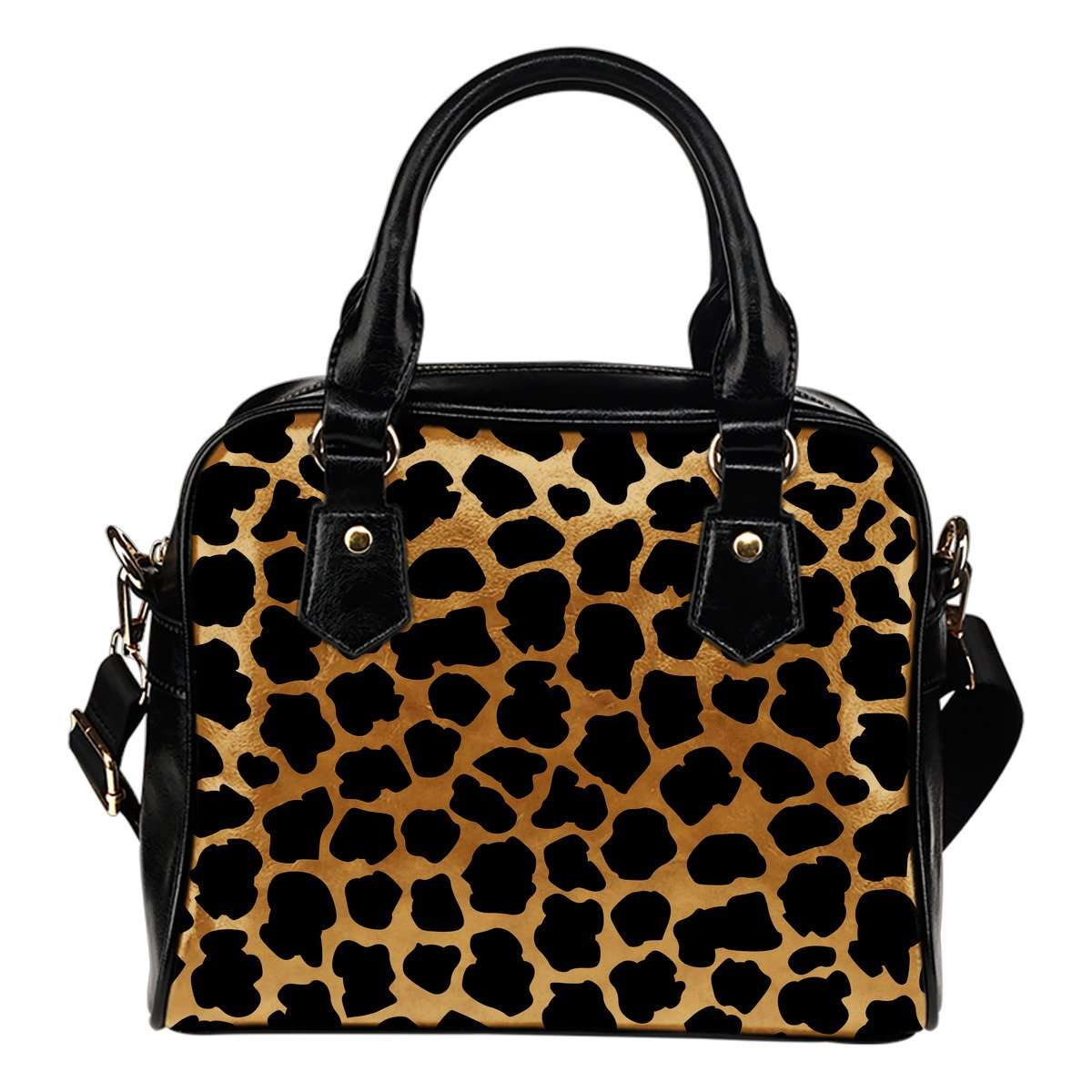 Animal Prints Cheetah Theme Women Fashion Shoulder Handbag Black Vegan Faux Leather