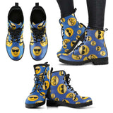 Emoji Glasses Womens Leather Boots