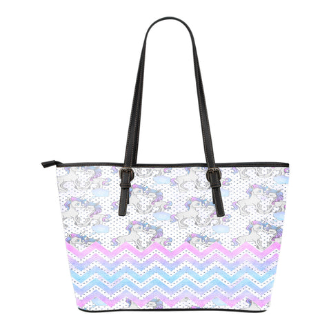 Unicorn Themed Design C13 Women Small Leather Tote Bag