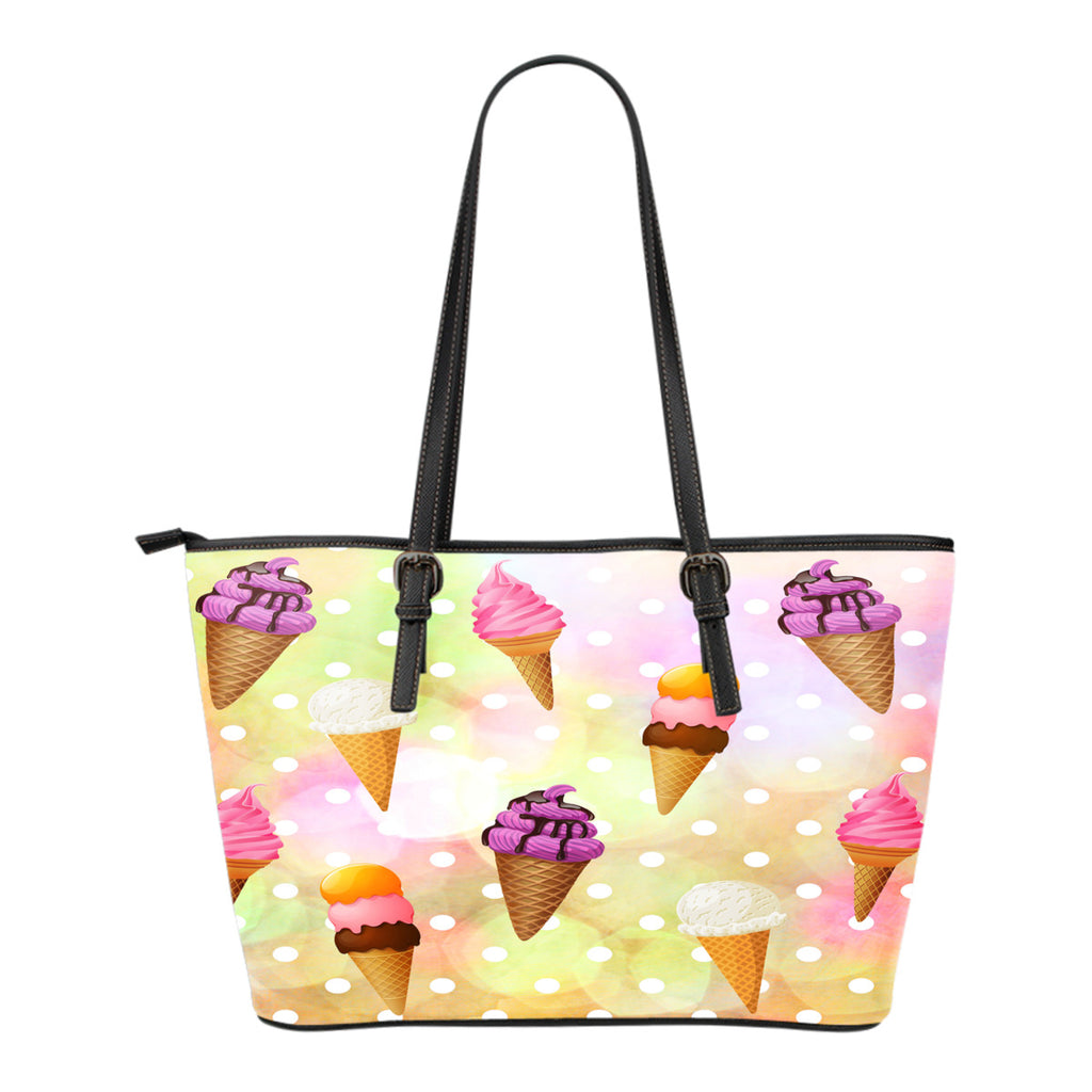 Ice Cream Themed Design C5 Women Small Leather Tote Bag