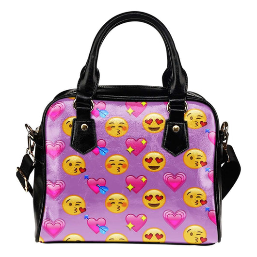 Fun Emojis Love Theme Women Fashion Shoulder Handbag Black Vegan Faux Leather - STUDIO 11 COUTURE