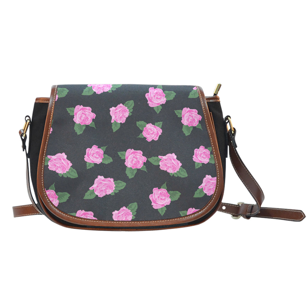 Ballerina Rose (A8) Crossbody Shoulder Canvas Leather Saddle Bag