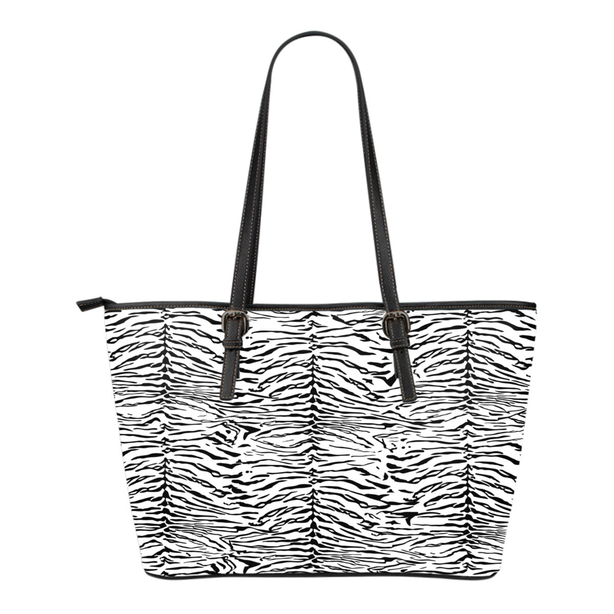 Animal Print BW Themed Design C3 Women Small Leather Tote Bag