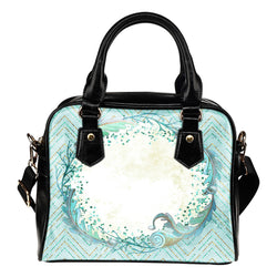 Summer Mermaid Themed Design B15 Women Fashion Shoulder Handbag Black Vegan Faux Leather