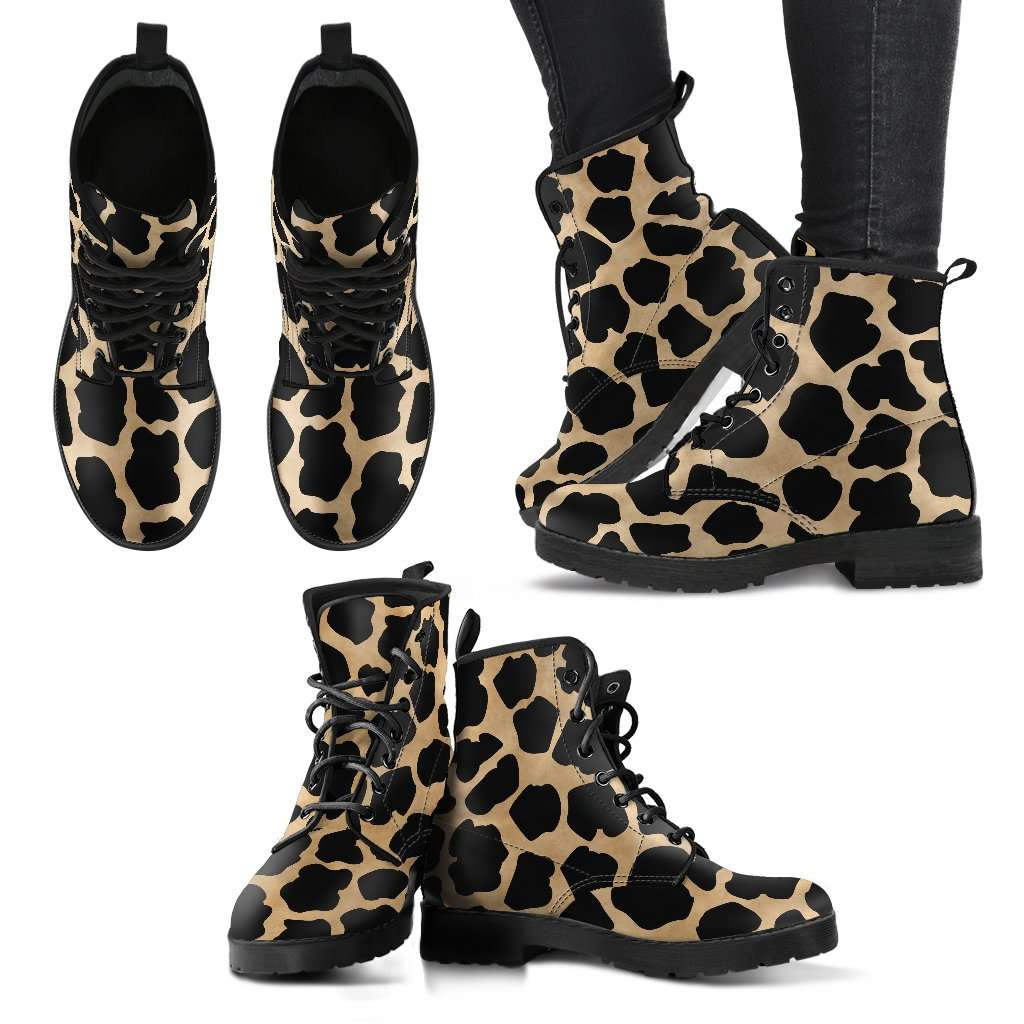 White Leopard Skin Womens Leather Boots - STUDIO 11 COUTURE