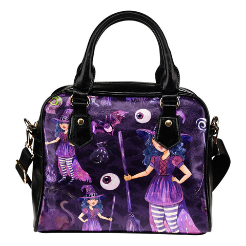 Witch Themed Design B2 Women Fashion Shoulder Handbag Black Vegan Faux Leather