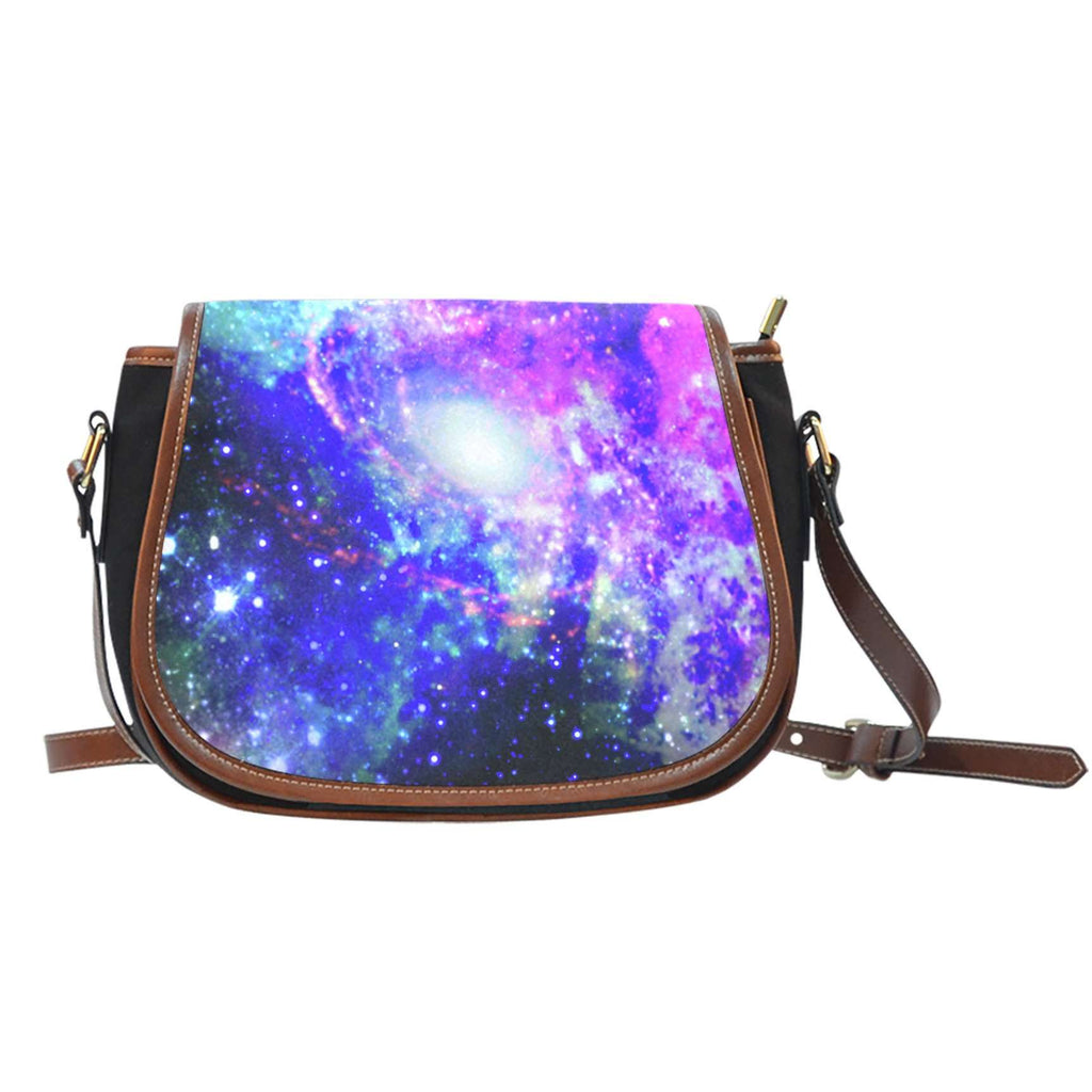 Galaxy 1 Crossbody Shoulder Canvas Leather Saddle Bag - STUDIO 11 COUTURE