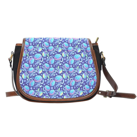 Jelly Fish Under The Sea Crossbody Shoulder Canvas Leather Saddle Bag