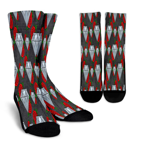 Diamond and Red Rose Crew Socks
