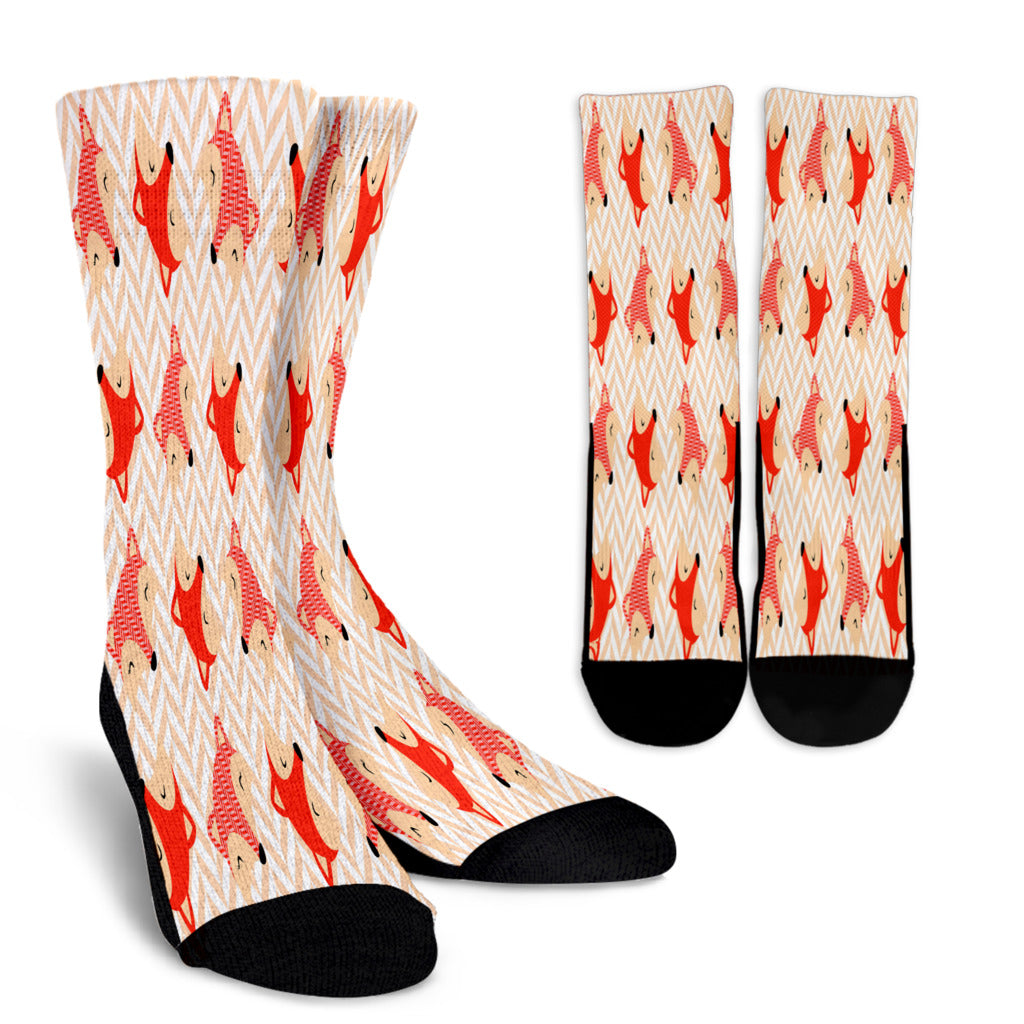 Cute Red Zigzag Large Fox Crew Socks