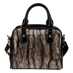 Nature Themed Design B4 Women Fashion Shoulder Handbag Black Vegan Faux Leather