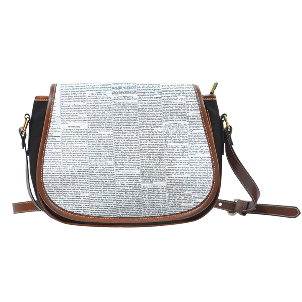 Old Newspaper Themed Design 4 Crossbody Shoulder Canvas Leather Saddle Bag