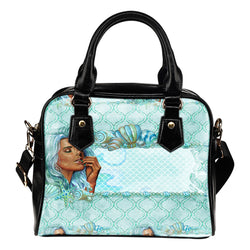 Summer Mermaid Themed Design B2 Women Fashion Shoulder Handbag Black Vegan Faux Leather